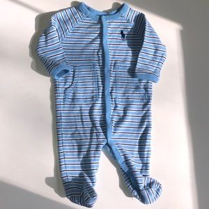 Ralph Lauren blue striped footed onesie!